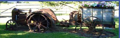 Antique Tractor with summer flowers